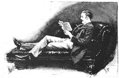 "I tied to interest myself in a yellow-backed novel — an illustration (1892) by Sidney Paget for Arthur Conan Doyle's ""The Boscombe Valley Mystery"