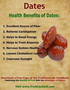 Dates have many health benefits and nutritional values, which is why many people consider dates to be the healthiest fruit around. Health Benefits Of Dates, Fruit Benefits, Health Facts, Health And Nutrition, Health Quotes, Health Images, Good Health Tips, Natural Health Remedies, Food Facts