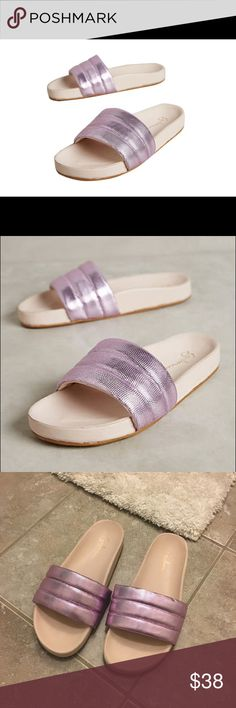 Guilhermina metallic-purple pool slides size 6 Sold out everywhere! These metallic-purple pool slides are from Brazilian shoe line Guilhermina. Sold at Anthropologie. Loved them but they are a half size too small. Worn once for no more than a couple hours. Pics accurate representation. Anthropologie Shoes Sandals