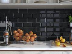 EliteTile Thira x Ceramic Subway Tile Color: Biselado Nero