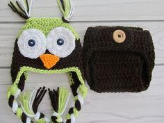 Crochet Baby Owl Hat And Diaper Cover set-Photo Prop-