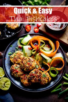Thai fishcakes with vegetable ribbons and fresh chilli dipping sauce. A delicious, easy Summer dinner, packed with flavour. Spicy Recipes, Salmon Recipes, Veggie Recipes, Fish Recipes, Seafood Recipes, Asian Recipes, Vegetarian Recipes, Cooking Recipes, Healthy Recipes