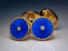 Antique Russian Imperial Era Double Cufflinks made in St Petersburg between 1908 and 1917 These superb quality antique cufflinks are handcrafted in 56 zolotniks rose gold, and embellished with blue translucent guilloche enamel. Each ename Antique Cufflinks, Men's Cufflinks, Antique Jewelry, Vintage Jewelry, Der Gentleman, Jewelery, Men's Jewelry, Jewelry Model, Enamel Jewelry