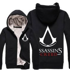 Leecos Assassin's Creed Winter Plus Velvet Hooded Sweater Assassin's Creed Desmond, Assassins Creed Hoodie, Hooded Sweater, Fashion Brands, Hoods, Zip Ups, Topshop, Velvet, Warm