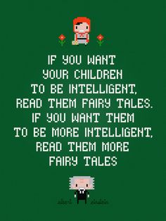 Albert Einstein quote: Fairy tales cross stitch pattern