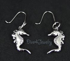 Ocean Chain Fish Seahorse Earrings 925 Solid Silver Cubic Zirconia Rose Gold