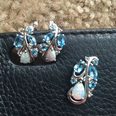 Gemstone and sterling silver earrings and necklace Opal and turquoise colored gemstones set in sterling silver. Sterling silver chain is included. Jewelry Necklaces