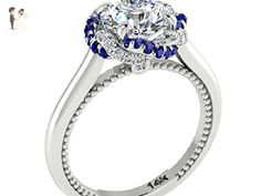 Forever One Moissanite Engagement Diamond Rings, Braided Halo Ring, 14k White solid gold, Blue Sapphires and White Diamonds Ring, Designed Copyrighted By Irina. - Wedding and engagement rings (*Amazon Partner-Link)
