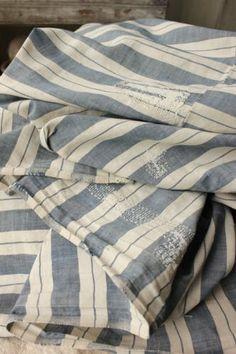 Antique French faded 18th 19th bed curtain panel Indigo handwoven stripe linen www.textiletrunk.com