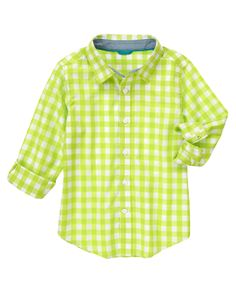 Brighten up his spring style with our lime checked shirt. In crisp cotton poplin, it adds a fresh layer to any playtime outfit. (Gymboree 3-12y)