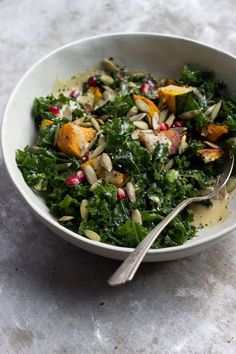 A gently massaged kale salad with kobocha squash and a lightly sweetened maple dijon dressing. Naturally gluten-free and vegan, and wonderful for fall.