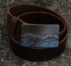 Mens Belt Buckle Hand Forged Landscape Stainless by ironartcanada Thing 1, Brown Leather Belt, Belt Buckles, Cuff Bracelets, Bronze, Welding Projects, Blacksmithing, My Style, Belts