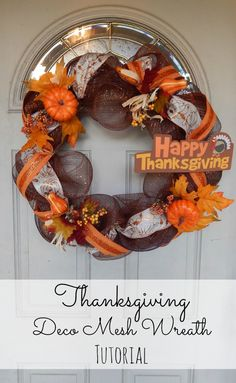 Thanksgiving Deco Mesh Wreath #Tutorial