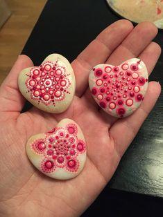 Dot mandala stone heart