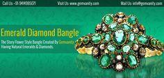 Adorable Emerald Diamond Bangle - Superb For Gifting