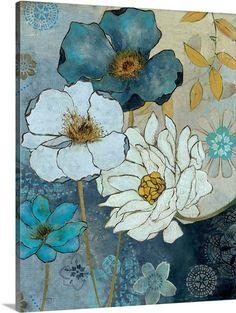 Carol Robinson Solid-Faced Canvas Print Wall Art Print entitled Blue Demin Garden II, None Watercolor Flowers, Watercolor Art, Canvas Wall Art, Canvas Prints, Big Canvas, Canvas Size, Leaf Wall Art, Guache, Painting Prints