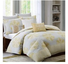 Mirna Yellow and Gray Duvet Cover Bedding Set