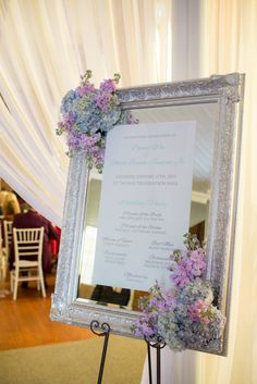 Vintage Silver-Framed Mirror Wedding Ceremony Program
