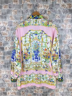 Excited to share the latest addition to my shop: Vintage GIANNI VERSACE Silk Shirt Medium Versace Jeans Couture Royalty Baroque Medusa Pop Art Luxury Psychedelic Buttondown Size M Versace Silk Shirt, Versace Jacket, Versace Jeans Couture, Army Coat, Silk Jacket, Gianni Versace, Yellow Stripes, Medusa, Oxfords