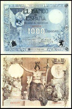 1000 p, 1907 Vintage World Maps, Coins, Art, Money, Stamps, Vintage Paper, Past Tense, Art Background, Rooms