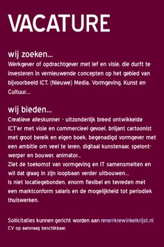 Vacature... pls RP (repin ;-) )