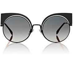 Fendi Women's FF0177 Sunglasses (15.965 UYU) ❤ liked on Polyvore featuring accessories, eyewear, sunglasses, glasses, black, cat-eye glasses, cateye sunglasses, fendi glasses, clear cat eye glasses and round glasses