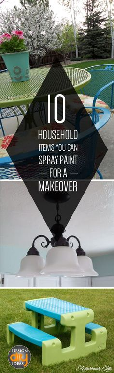 Save Money and spray paint, to make it look new!  Check out these 10 household items you can spray paint for a makeover!