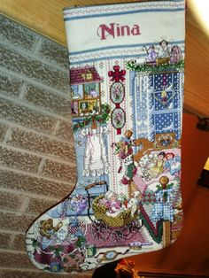 Cross Stitch Christmas Stocking- Antique Bedroom