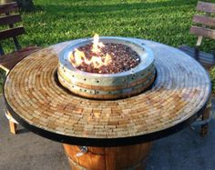 Wine Barrel Gas Fire Pit and Patio Table