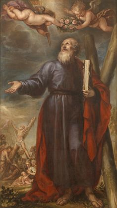 """""""Remain faithful until death, and I will give you the crown of life."""" Revelation 2:10 // Saint Andrew / San Andrés // 1646 // Francisco Rizi // #apostle #martyrdom #Christianity"""