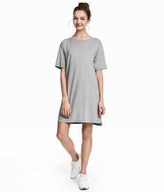 Check this out! Short, straight-cut jersey dress in a cotton blend with short sleeves. - Visit hm.com to see more.