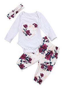 Newborn Baby Girls Floral Heart Peach Print Romper Long P...