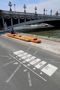 Berges de Seine, Paris, France, by Franklin Azzi Architecture Environmental Graphic Design, Environmental Graphics, Urban Furniture, Street Furniture, Urban Landscape, Landscape Design, Wayfinding Signs, Floor Graphics, Urban Intervention