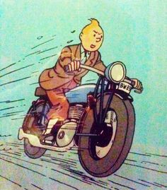 tintin + motorcycle (born to be wild plays in the background) Haddock Tintin, Tin Tin Cartoon, Captain Haddock, Herge Tintin, Comic Art, Comic Books, Ligne Claire, Little Brothers, Comic Character