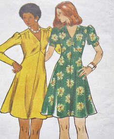 70s mini dress empire sweetheart bust swing skirt floral green yellow Vintage Butterick 3470 70s Sewing Pattern -- 70s Dress -- Size 12 Bust 34 Small