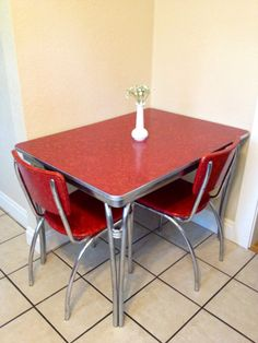 1950's chrome retro red kitchen table with 2 red by elcroft223, $250.00