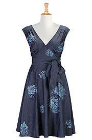 Pin-up denim embellished dress