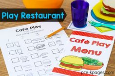 Printable Restaurant Order Forms with Pictures for Pretend Play in your Preschool or Kindergarten classroom
