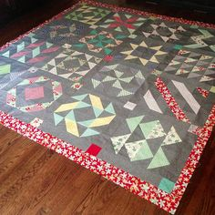 Layer cake sampler QAL - quilt top by Three Owls, via Flickr