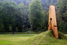 Pin a Clothespin. 'Pinching Earth' Sculpture by Turkish artist Mehmet Ali Uysal. Liege, Belgium.