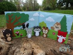 Forest quiet book, forest animal finger puppets, felt animals, felt chipmunk, raccoon, skunk, deer, rabbit, fox, owl, bear, hedgehog, by AllAboutKraft on Etsy https://www.etsy.com/listing/229778598/forest-quiet-book-forest-animal-finger