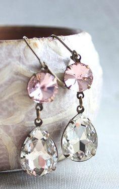 Crystal Earrings Clear Glass Dangle Earrings