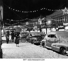 Winter City Street Scene With Pedestrians In Snow Christmas Lights Stock Photo Old Time Christmas, Old Fashioned Christmas, Christmas Past, A Christmas Story, Christmas Lights, Christmas Holidays, Xmas, Christmas Movies, Winter Christmas Scenes