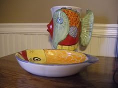Vietri Italian Pottery Kissing Fish Ceramic Pitcher and Serving Fish Plate.