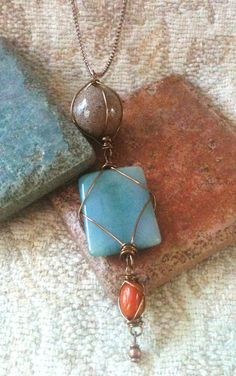 Wire Wrapped Glass & Ceramic Stone Pendant by GrecoGirlJewelry