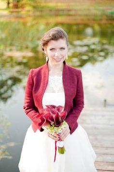 Bridal Jacket burgundy wedding Fall Bridal Felted от DressInFelt