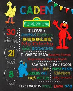 1st Birthday Chalkboards. Sesame Street Theme Birthday Chalkboard