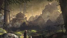 Pin by Carter Smith on Inspiration drawing Forest village Fantasy concept art Fantasy art