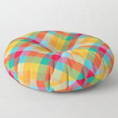 Colorful Summer Plaid Pattern Floor Pillow by uteb Designer Pillow, Pillow Design, Floor Pillows, Throw Pillows, Plaid Pattern, Pillow Shams, Design Projects, Bean Bag Chair, Flooring