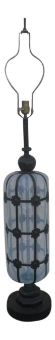 1960s Moroccan Caged Opaline Glass Table Lamp on Chairish.com
